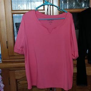Cute cuffed coral t shirt plus size